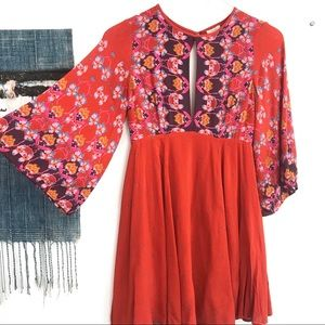 Urban Outfitters bell sleeve paisley Boho Dress XS